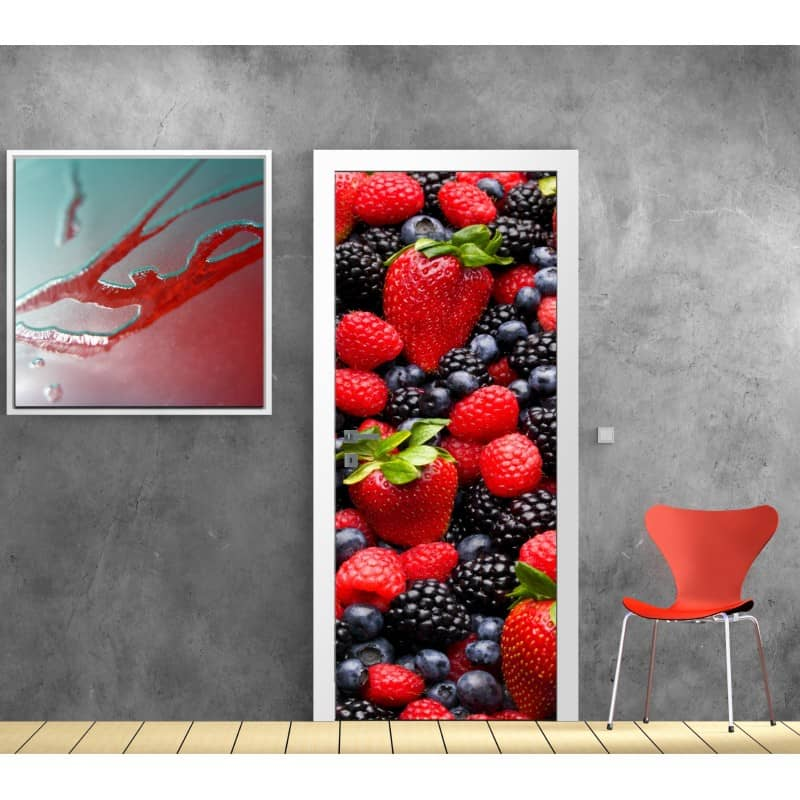stickers porte cuisine fruits art d co stickers. Black Bedroom Furniture Sets. Home Design Ideas