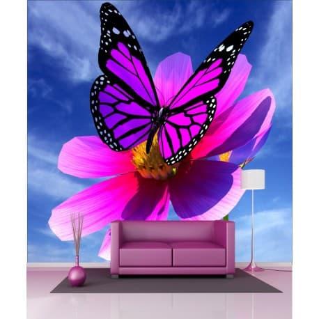 Stickers géant déco : Papillon fleur