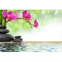 Stickers muraux déco : galets bambous orchidées