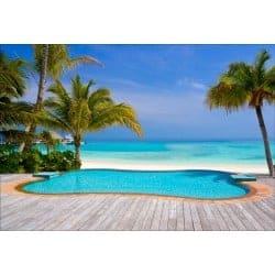 Stickers muraux déco : piscine plage palmiers