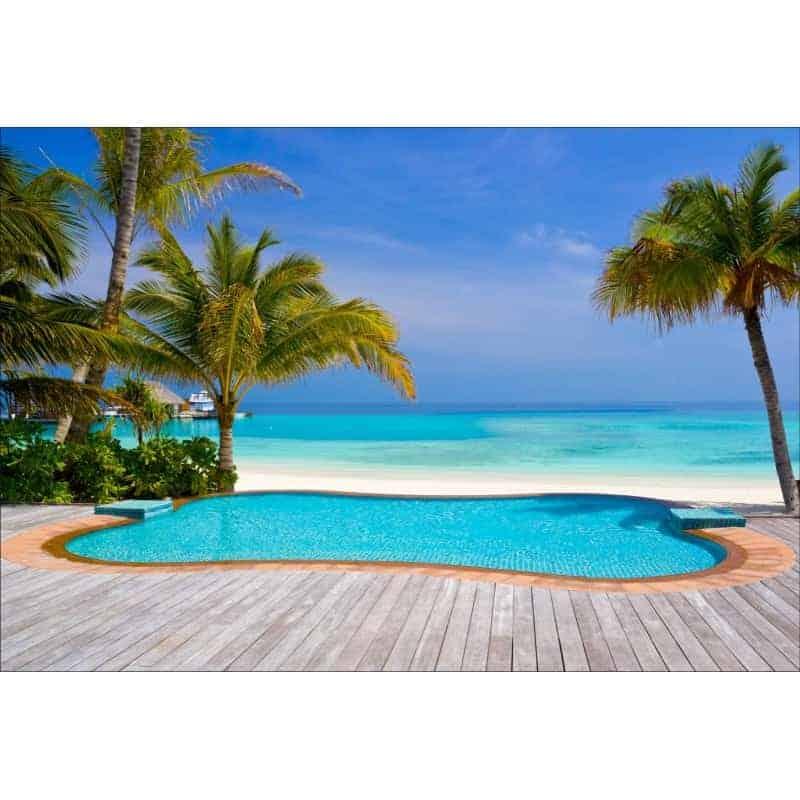 Stickers muraux d co piscine plage palmiers art d co stickers - Deco autour de la piscine ...