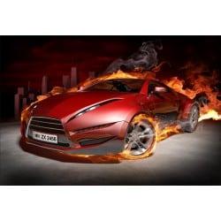 Stickers muraux déco : voiture flamme