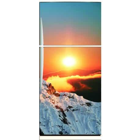 Sticker frigo déco couché soleil montagne 70x170cm