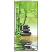 Sticker frigo déco galets bambous 70x170cm