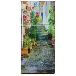 Sticker frigo déco ruelle fleurie 70x170cm