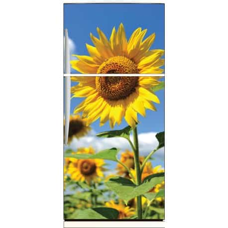 sticker frigo d co fleur de tournesol 70x170cm art d co stickers. Black Bedroom Furniture Sets. Home Design Ideas