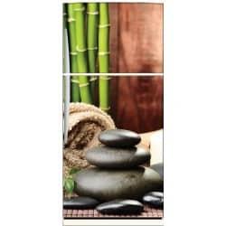Sticker frigo déco galets bambous spa 70x170cm