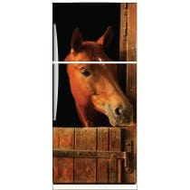 Sticker frigo déco cheval dans son box 70x170cm