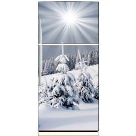 Sticker frigo déco montagne 70x170cm