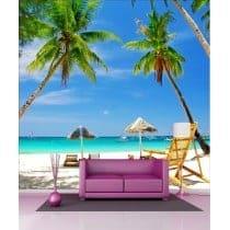 Stickers géant déco : plage et palmiers