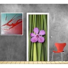 Stickers porte déco Bambous Orchidée