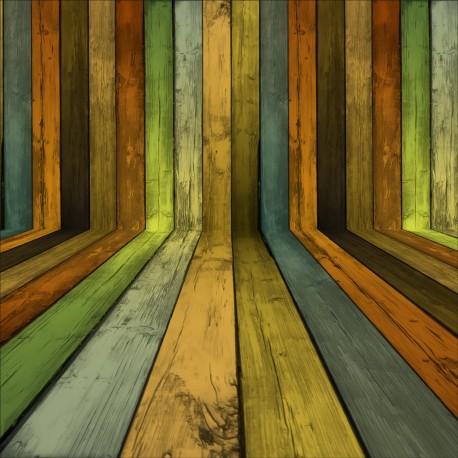 Stickers géant déco : bois de couleurs