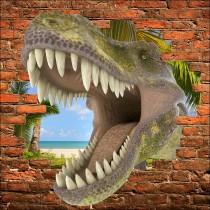 Sticker mural trompe l'oeil Dinosaure Tyrex
