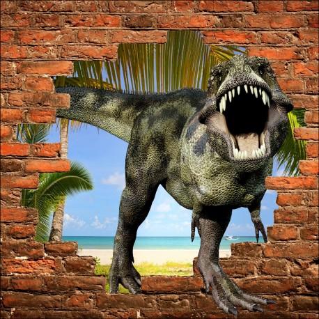 Sticker mural trompe l 39 oeil dinosaure art d co stickers - Stickers muraux trompe l oeil ...