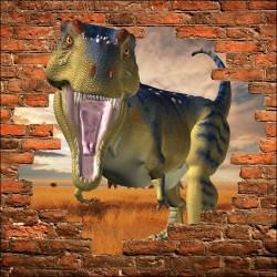 Sticker mural trompe l'oeil Dinosaure
