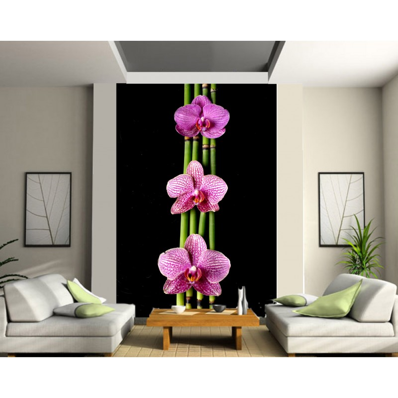 stickers g ant d co bambou orchid e art d co stickers. Black Bedroom Furniture Sets. Home Design Ideas