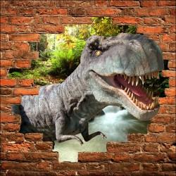 Sticker mural trompe l'oeil Tyrex Dinosaure