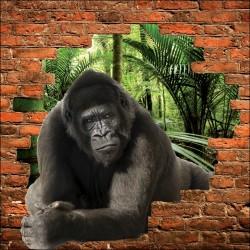 Sticker mural trompe l'oeil Gorille