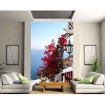 Stickers géant déco : balcon vue sur la mer