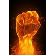 Stickers géant déco : poing en feu