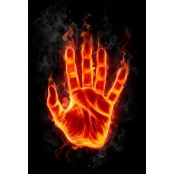 Stickers géant déco : main en feu