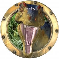 Sticker hublot trompe l'oeil déco Dinosaure Tyrex