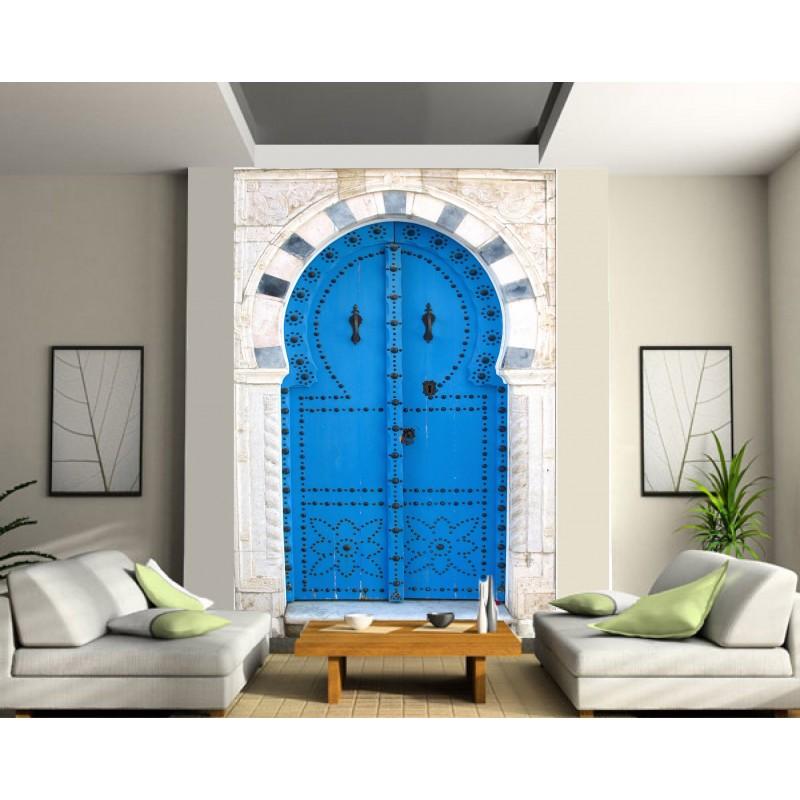 Stickers géant déco : porte orientale bleu - Art Déco Stickers