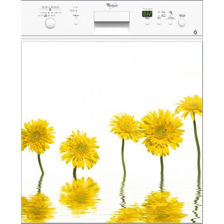 Sticker Lave Vaisselle Fleurs Jaune