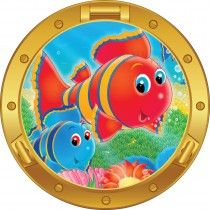 Sticker hublot enfant Poisson multicolore