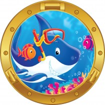 Sticker hublot enfant Requin