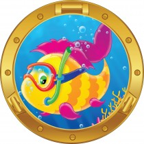 Sticker hublot enfant Poisson tuba