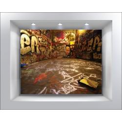 Stickers muraux déco trompe l'oeil Tag graffiti