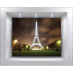 Stickers muraux déco trompe l'oeil Tour Eiffel