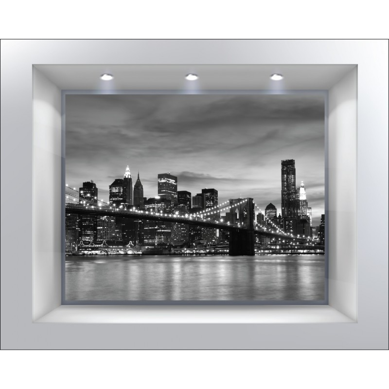 Stickers muraux d co trompe l 39 oeil new york n b art d co stickers - Deco trompe l oeil muurschildering ...