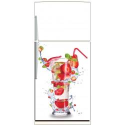 Sticker frigo Cocktail fraise - ou sticker magnet frigo