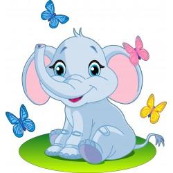 Sticker enfant Eléphant papillons