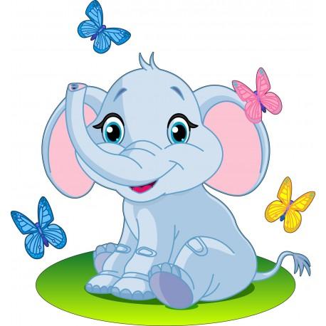 Sticker Enfant Eléphant Papillons - Art Déco Stickers