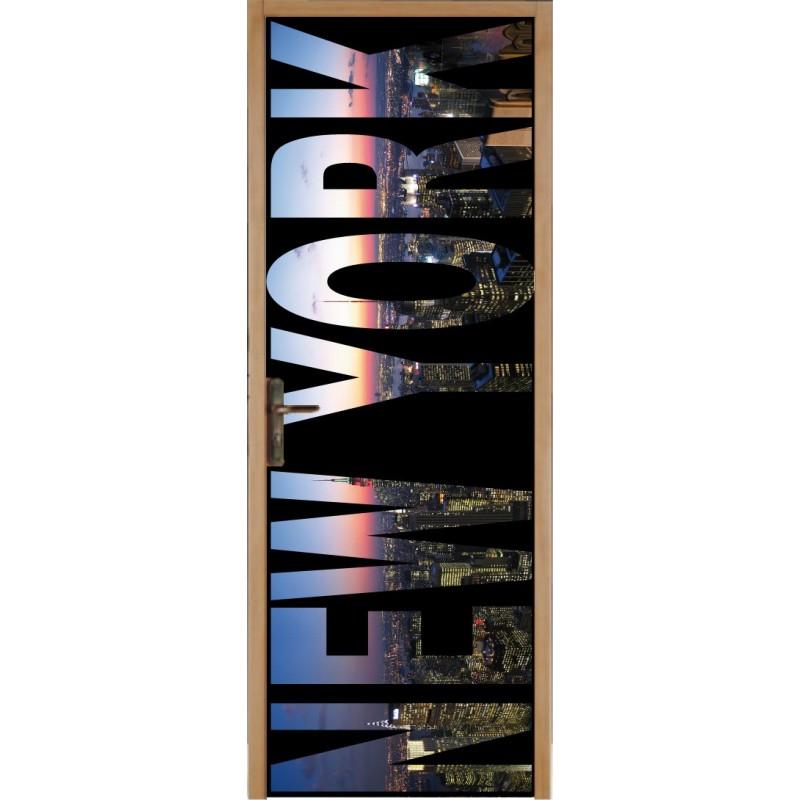 Papier peint porte d co new york art d co stickers - Stickers porte new york ...