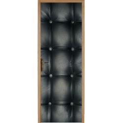 Papier peint porte déco - capitonnée noir