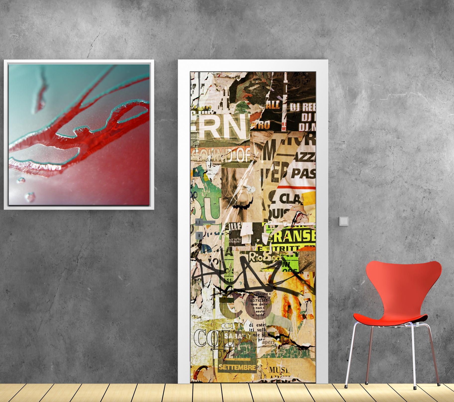 Papier Peint Porte Déco Tag Graffiti Art Déco Stickers - Papier peint porte