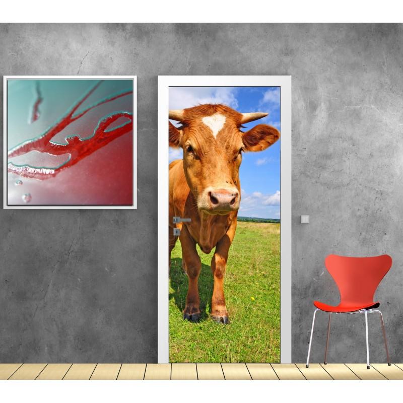 papier peint porte d co vache art d co stickers. Black Bedroom Furniture Sets. Home Design Ideas