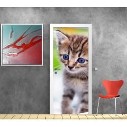 Papier peint porte déco - chat
