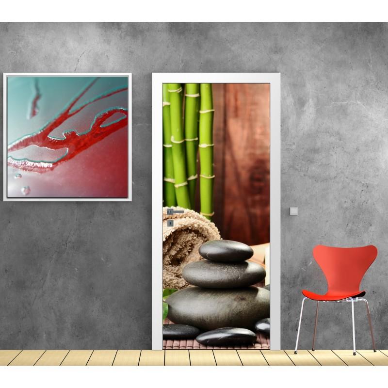 Papier peint porte d co galets bambou art d co stickers - Papier peint porte pour ...
