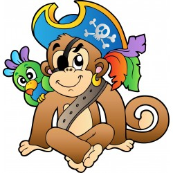 Stickers enfant Singe pirate