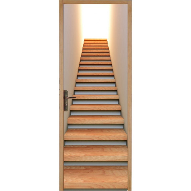 Papier peint porte d co escaliers art d co stickers - Papier peint escalier ...