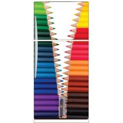 Sticker frigo déco cuisine crayons de couleurs
