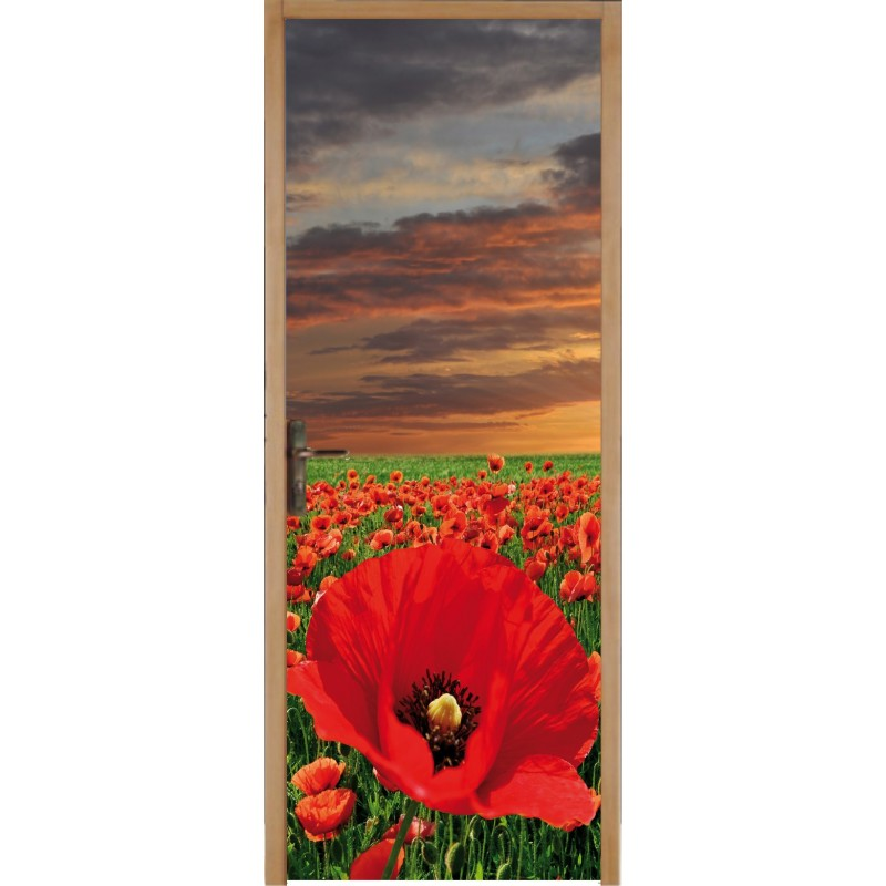 papier peint porte d co champ de coquelicot art d co stickers. Black Bedroom Furniture Sets. Home Design Ideas