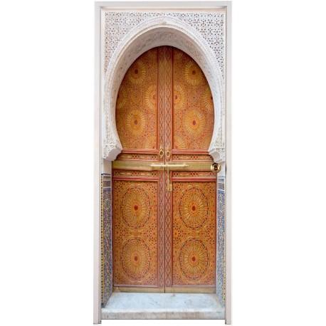 Papier peint porte d co orientale art d co stickers - Papier peint pour porte ...