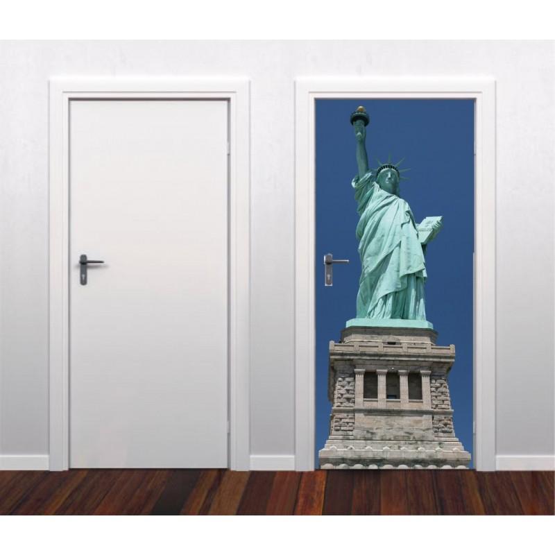 Papier peint porte d co statue de la libert art d co stickers for Papier peint de porte