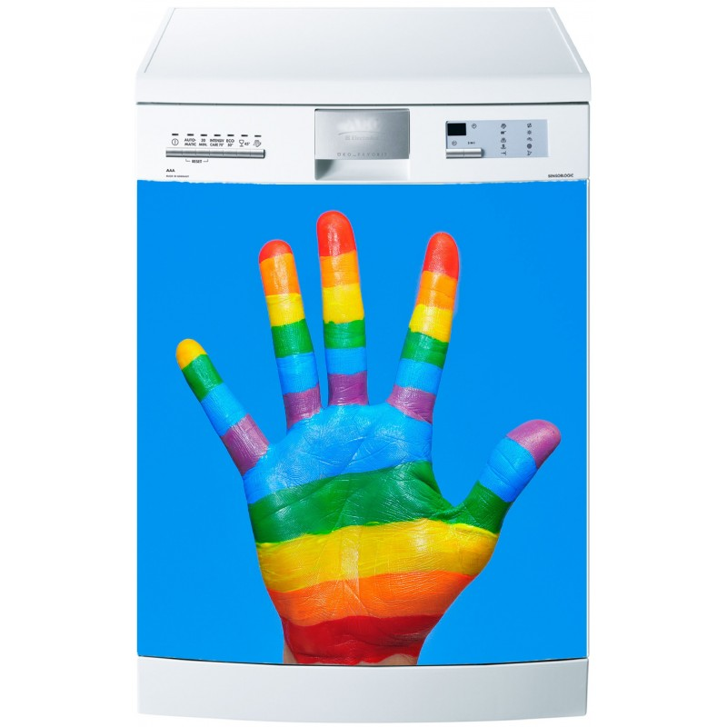 stickers lave vaisselle ou magnet lave vaisselle main couleur art d co stickers. Black Bedroom Furniture Sets. Home Design Ideas